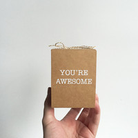 Free Shipping - Small Paper Gift Box - You're Awesome - Kraft Tan / Brown and white - Gift wrap, Minimal, Birthday, Any occasion, Christmas