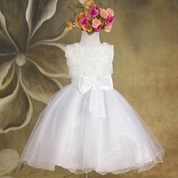 Kids Girls Princess Dress Girls Sleeveless Flower Bow Wedding Party Pageant Tulle Dresses Vestido