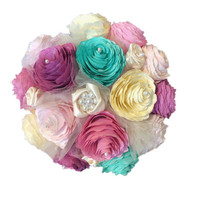 Romantic Peony bouquet, Satin ribbon bouquet, Brooch bouquet, Pink Teal orchid and ivory bouquet, Lace & ribbon bouquet, Paper Peony Bouquet