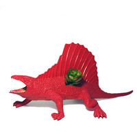Huge Red Recycled Edaphosaurus Dinosaur Planter - With Succulent Plant
