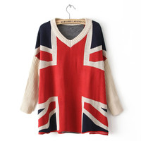 UK Flag Print Knitted Sweater