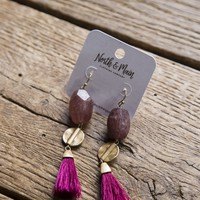 Rock and Tassel Earrings, Fuchsia