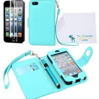 The Friendly Swede Basics - iPhone 5 5s PU Leather Folio Wallet Case Cover + Matching Stylus + Screen Protector + Cleaning Cloth (Light Blue)
