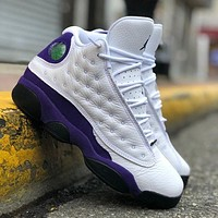 Nike AIR Jordan 13 Lakers color matching white and purple fashion men's and women's casual sneakers