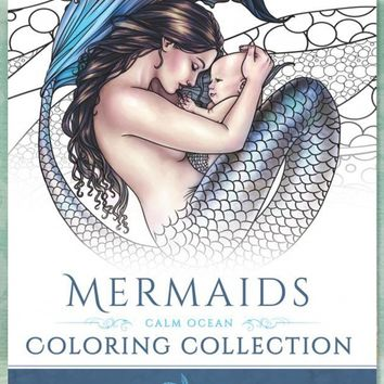 Books - Mermaids Calm Ocean Adult Coloring Book