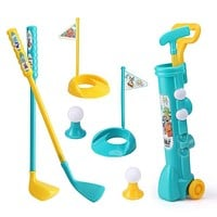 1 Set Mini Plastic Golf Toy Child Golf Sports Game Professional Kids Children Home Outdoor Indoor Small Golf Club Party Training (1set)