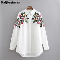 2017 Spring ZA Floral Embroidery Turn-down Collar Shirt Casual Long Sleeve Vintage Women Blouse Workwear White Cotton Blusa XL
