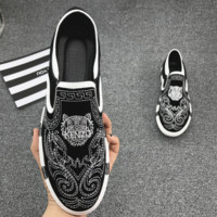 Kenzo 2018 trendy tiger head embroidery tide casual shoes White tiger