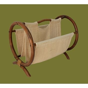 1970s Bent Bamboo and Linen Circular Sides Magazine Rack Boho Chic Natural Decors