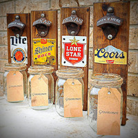 Groomsmen Gift, Happy Fathers Day, Rustic Beer Bottle Opener, Pallet, Birthday, Husband Gift - Gift for Dad- Groomsmens Gift- Personalized