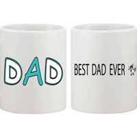 Cute Ceramic Coffee Mug Gift for Dad 11oz White - Best Dad Ever Magpie