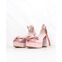 Final Sale - Chinese Laundry - Tina Velvet Platform Sandal Block Heel in Rose
