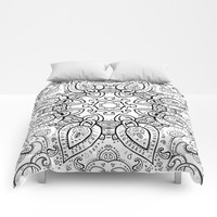 White Gray Black Paisley Mandala Comforters by SimplyChic