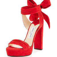 Jimmy Choo Kaytrin Suede 120mm Platform Sandal, Red