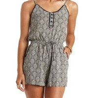 Crochet-Trimmed Printed Button-Up Romper - Black Combo