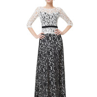 Black and White Lace Formal Maxi Dress