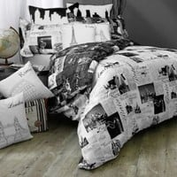 Passport London and Paris Pillow Sham