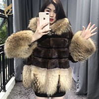 2018 New Trendy Patchwork Winter Fur Coats Nature Mink Fur With Raccoon Dog Sleeves Warm Hooded Mink Coat For Women Plus Size