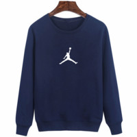 Navy Blue Jordan Long Sleeve Hoodies Sweatershirt  Pullover Coat