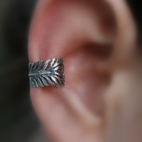 Sterling Silver Handcrafted Feather Textured Ear Cuff Vintage/Antique/Cartilage/catchless/helix