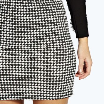 Dena Dogstooth Bodycon Mini Skirt