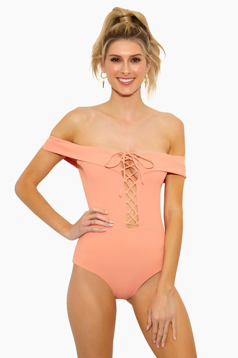 Image of Anja Off Shoulder Lace Up One Piece Swimsuit - Tropical Peach