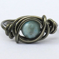 Boho Ring Turquoise Jasper and Gunmetal Wire by DistortedEarth