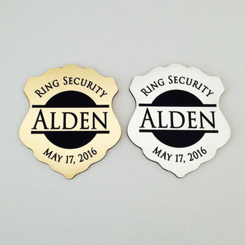 Ring Security, Ring Bearer Gift, Ring Bearer Security Badge, Personalized Ring Bearer Badge, Groomsmen Gifts, Wedding Gift, Badge Design