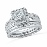 10kt White Gold Women's Round Diamond Cluster Bridal Wedding Engagement Ring Band Set 1.00 Cttw - FREE Shipping (US/CAN)