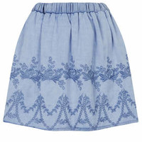 MOTO Floral Embroidered Skirt - Blue