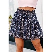 Perfect Poppies Ruffled Floral Skirt (Navy/Blush Multi)