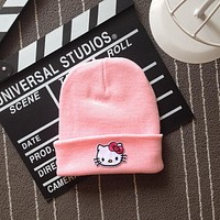 Hello Kitty Head Embroidered Patch Womens & Mens Beanie Wool Knitted High Quality Pink Cuffed Skully Hat