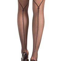 Mock Zippered Back Seam Thigh Highs