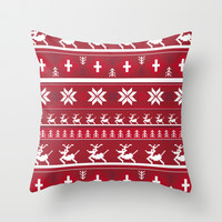 Red Christmas Stripe Throw Pillow by markmurphycreative