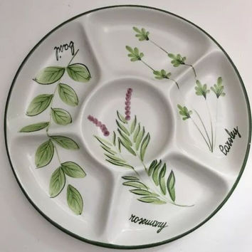 Pizzato Italian Hand Painted 6 Compartment Tray Chips Dips Veggies Olives Snack