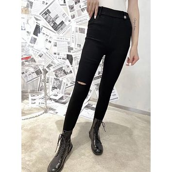 """""""Alexander Wang"""" Women All-match Fashion Ripped Stretch Tight Pants Slim-fit Pants Trousers"""