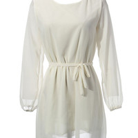 'The Sophie' Long Sleeve White Chiffon Dress