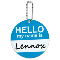 Lennox Hello My Name Is Round ID Card Luggage Tag