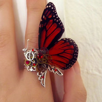 Steampunk ring, butterfly ring, red ring, silver steampunk, filigree ring, boho ring,  magic ring, watch gear ring