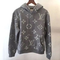 LV Women/Men Casual Letter Print Velvet Long Sleeve hooded Pullover Sweatshirt Top Sweater hoodie