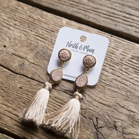 Druzy Stone Tassel Earrings, Mauve