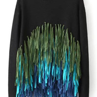 Black Knitted Sweater with Multicolored Fringed Details