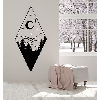 Vinyl Wall Decal Fir Trees Mountains Moon Stars Night Bedroom Stickers Mural (g3250)