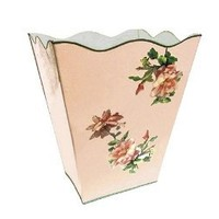 Vintage Pink Roses Wastebasket, Trash Can, Waste Can, Trash Bin ~ E18 Shabby Chic Enamel Trash Can with Romantic Antique Roses