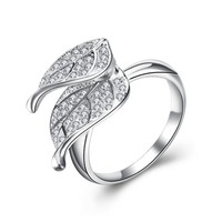 Magic Pieces Woman's Rhodium Plated Spinning Double Tree Leaves Ring with CZ Setting J1121