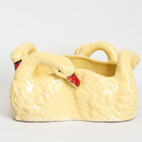Vintage Yellow Duck Planter, Kitschy Goose Bird Succulent Cactus Vase, Country Cottage, Made in Japan