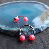 """Opal Septum Nose Ring 16g 5/16"""" Pink Opals Daith Piercing Tragus Body Jewelry Gems Helix Piercings Conch Horseshoe Silver Earrings Gemstones"""