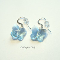 Butterfly Earrings, Crystal Earrings, Dangle Earrings, Girls Earrings, Butterfly Jewelry