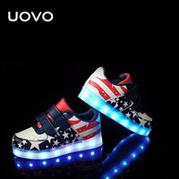 UOVO LED Luminous Shoes kids usb charing boys outdoor sport shoes toddler glowing shoes light casual sneakers Eur25-35#
