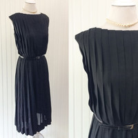 Winifred dress // 1950s black onyx fully pleated draped Jerry Gilden designer dress // metal zipper // size XL 42 bust